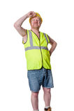 Builder in hard hat staring - isolated on white Royalty Free Stock Photos