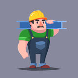 The builder in hardhat with the muscles. Strong man mustache. Cartoon character Royalty Free Stock Images