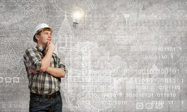 Builder has an idea Royalty Free Stock Images