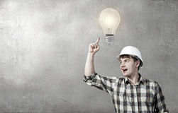 Builder has an idea Royalty Free Stock Photography