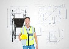 Builder with the hat in the hand in front of 3D scaffolding Stock Photography