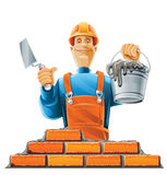 Builder in helmet. Illustration isolated on white background Royalty Free Stock Photos