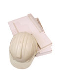 Builder Helmet Model two. White colored Builder Safety Helmet on top of architectural working Model picture two royalty free stock photos