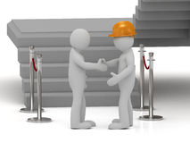 Builder in helmet shaking hands 3d man Stock Images