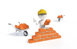 Builder in the helmet with a shovel and bricks Royalty Free Stock Photo