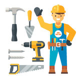 Builder and his classical instruments Stock Image