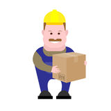 Builder holding a box Stock Photo