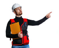 Builder holding folder Stock Images
