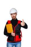Builder holding folder Stock Photos