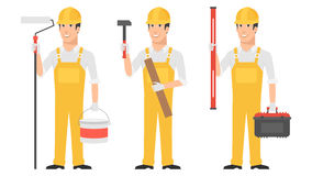 Builder holding instruments hammer roller level Royalty Free Stock Photography