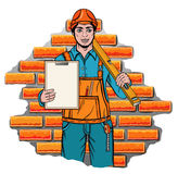 Builder holding level Royalty Free Stock Photos