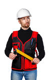 Builder holding line Royalty Free Stock Images