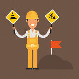 Builder holding signs ban and smiling Royalty Free Stock Images