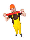 Builder holding wasserwaage Stock Photography