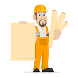 Builder holds clean sheet of paper Royalty Free Stock Images