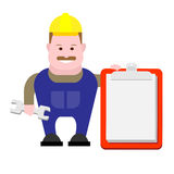 Builder holds clipboard Stock Photos