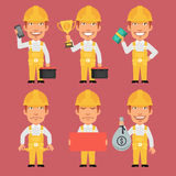 Builder Holds Cup Money Tools Phone Poster Stock Photography