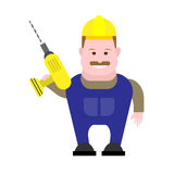 Builder holds drill Royalty Free Stock Photos
