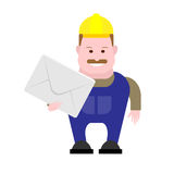 Builder holds envelope Royalty Free Stock Images