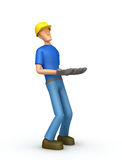 Builder holds great weight Royalty Free Stock Image