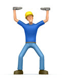 Builder holds great weight Royalty Free Stock Images