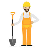 Builder holds in hand shovel Royalty Free Stock Photography