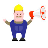 Builder holds megaphone Royalty Free Stock Images