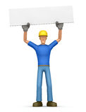 Builder holds over a banner Stock Photos