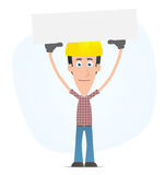 Builder holds over a banner Royalty Free Stock Photos
