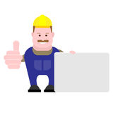 Builder holds a presentation card Royalty Free Stock Photography