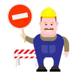 Builder holds a prohibition sign Royalty Free Stock Image