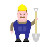 Builder holds a shovel Royalty Free Stock Photos