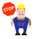 Builder holds a stop sign Royalty Free Stock Photos