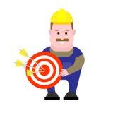 Builder holds target Stock Image