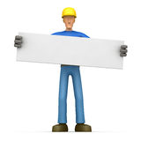 Builder holds up a poster Stock Images