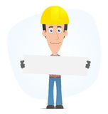 Builder holds up a poster Stock Photos