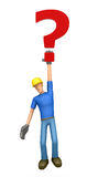 Builder hung on the question Royalty Free Stock Image