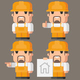 Builder Indicates in different poses Royalty Free Stock Photo