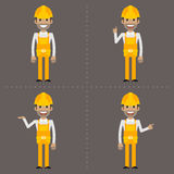 Builder indicates in various poses Stock Photo