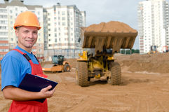 Builder inspector at construction royalty free stock photography
