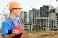 Builder inspector at construction Stock Photos