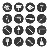 Builder instruments icons black Royalty Free Stock Photo