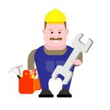 Builder keeps tools Stock Photo
