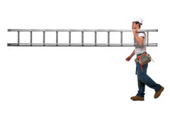 Builder with ladder Royalty Free Stock Photo