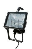Builder Lamp. Black Halogen Builder Lamp Isolated on White Background Royalty Free Stock Photography