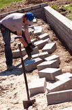 Builder laying bricks Stock Image