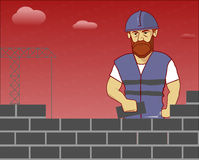 Builder lays bricks. Character brutal man at work, on the background a construction crane and clouds vector illustration Royalty Free Stock Photography