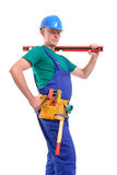 Builder with level Stock Image