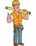 Builder with level Royalty Free Stock Photo