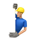 Builder looking at a blank board on the side Stock Images